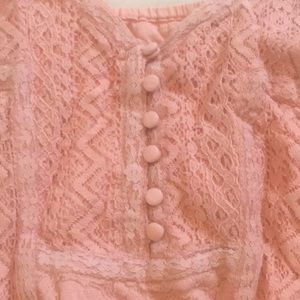 BKE Tops - Pink Lacy Tank Top
